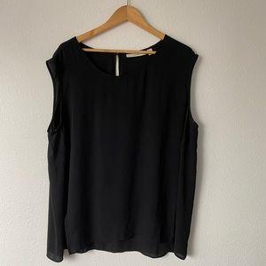 Sejour 22w sheer black blouse